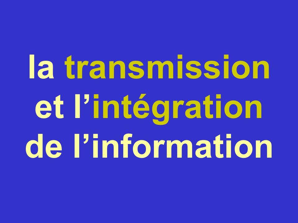 la transmission et l'intégration de l'information