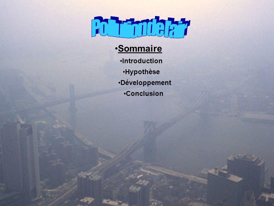 Pollution de l'air Sommaire Introduction Hypothèse Développement
