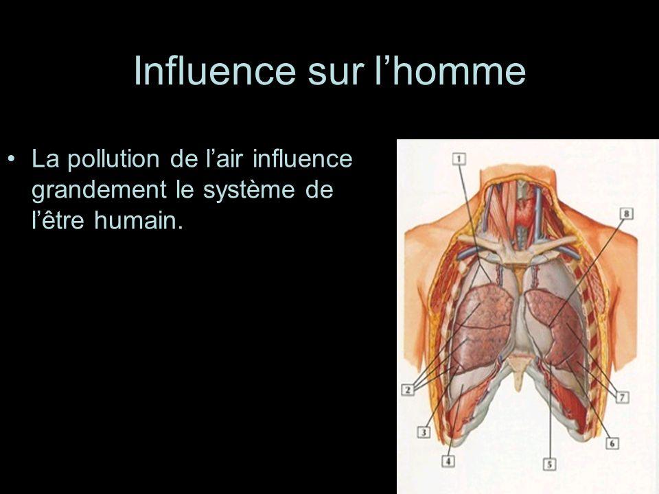 Influence sur l'homme La pollution de l'air influence grandement le système de l'être humain.