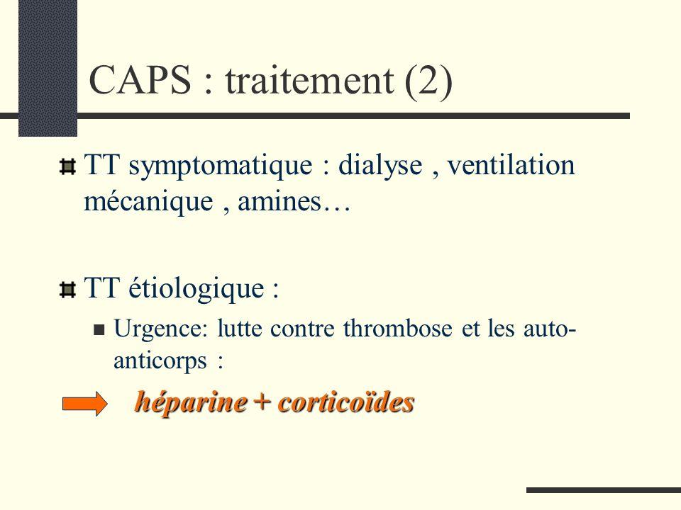 CAPS : traitement (2) TT symptomatique : dialyse , ventilation mécanique , amines… TT étiologique :