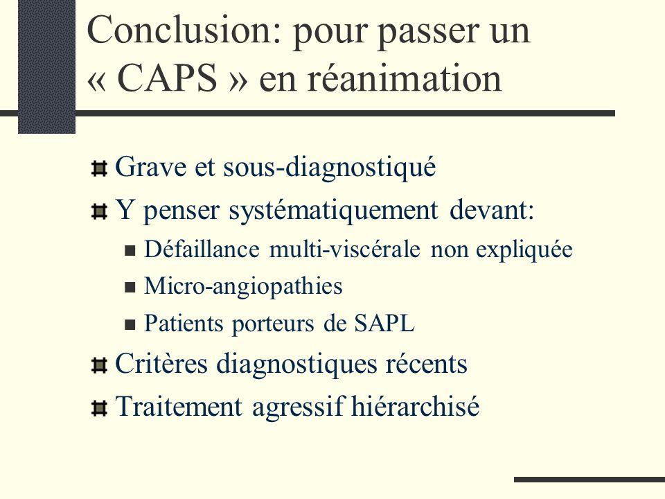 Conclusion: pour passer un « CAPS » en réanimation