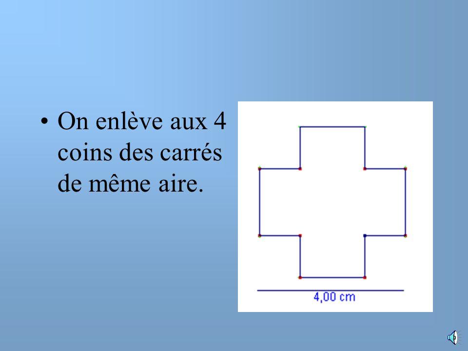 On enlève aux 4 coins des carrés de même aire.