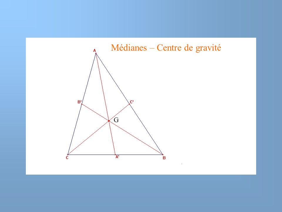 Médianes – Centre de gravité