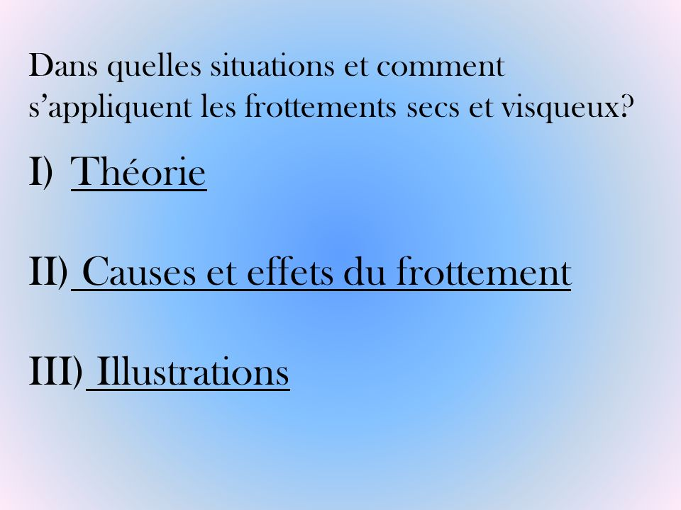 Causes et effets du frottement Illustrations