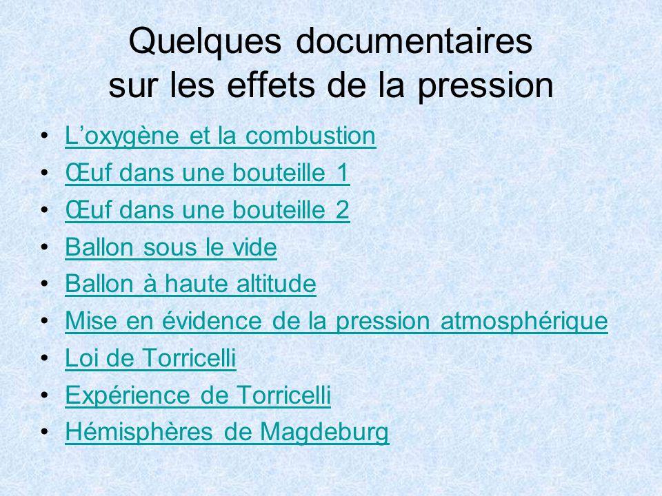 Quelques documentaires sur les effets de la pression