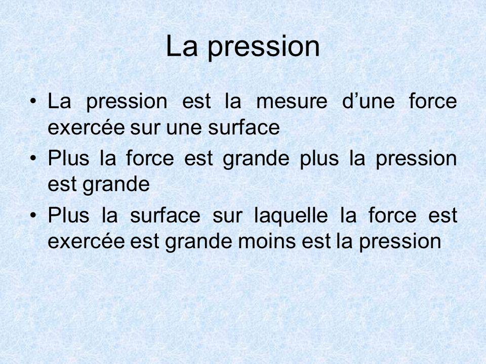 La pression La pression est la mesure d'une force exercée sur une surface. Plus la force est grande plus la pression est grande.