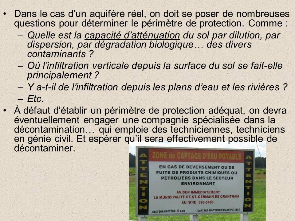 Dans le cas d'un aquifère réel, on doit se poser de nombreuses questions pour déterminer le périmètre de protection. Comme :