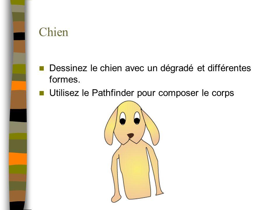 Chien Dessinez le chien avec un dégradé et différentes formes.