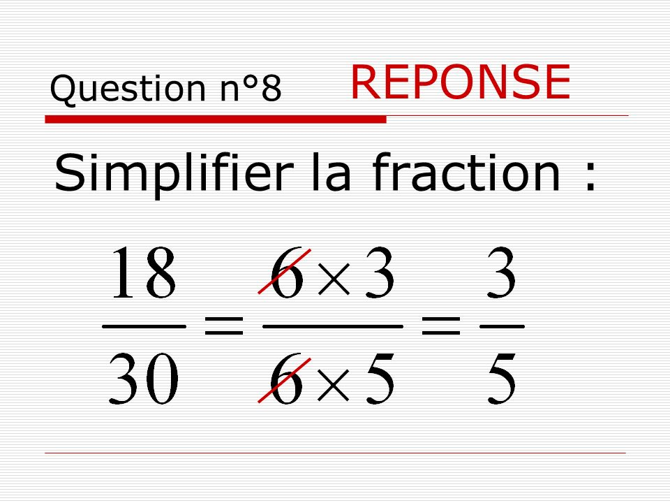 Simplifier la fraction :