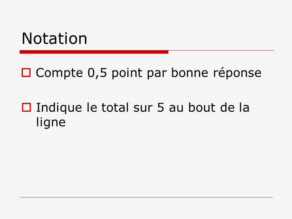 Notation Compte 0,5 point par bonne réponse