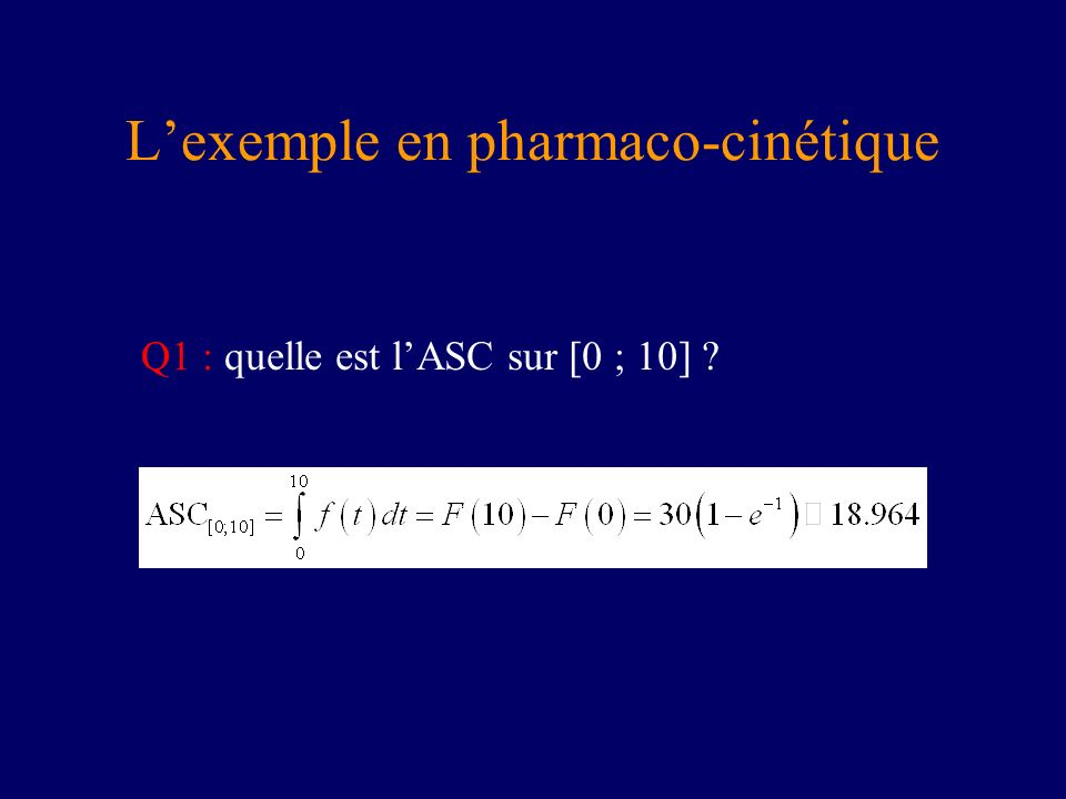 L'exemple en pharmaco-cinétique