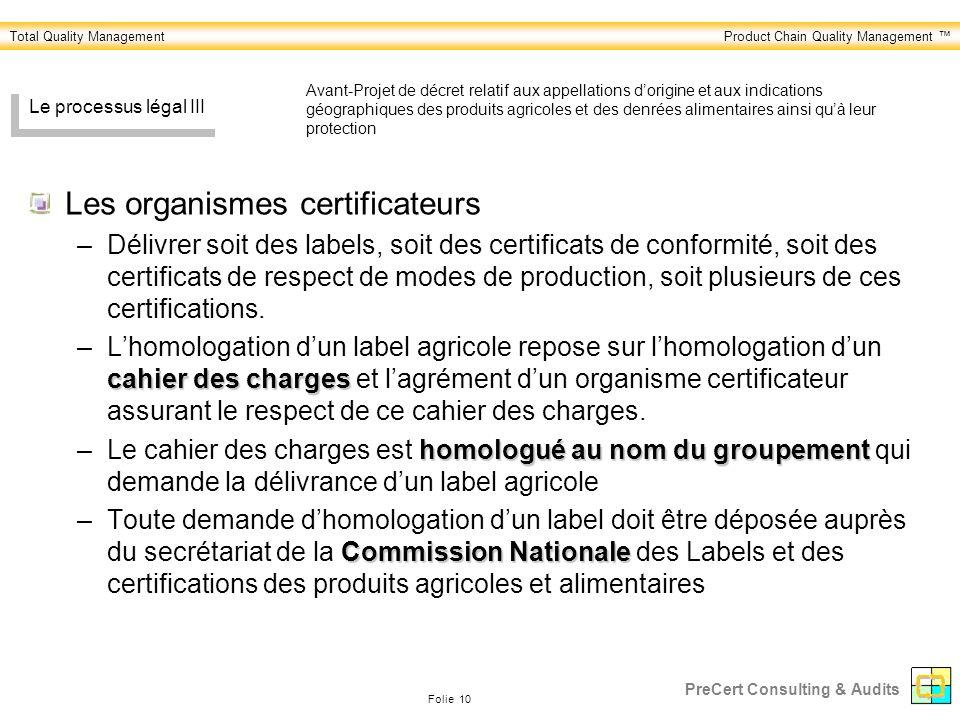 Les organismes certificateurs