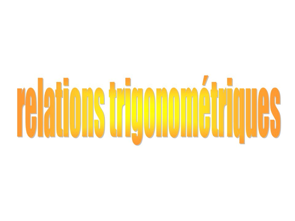 relations trigonométriques
