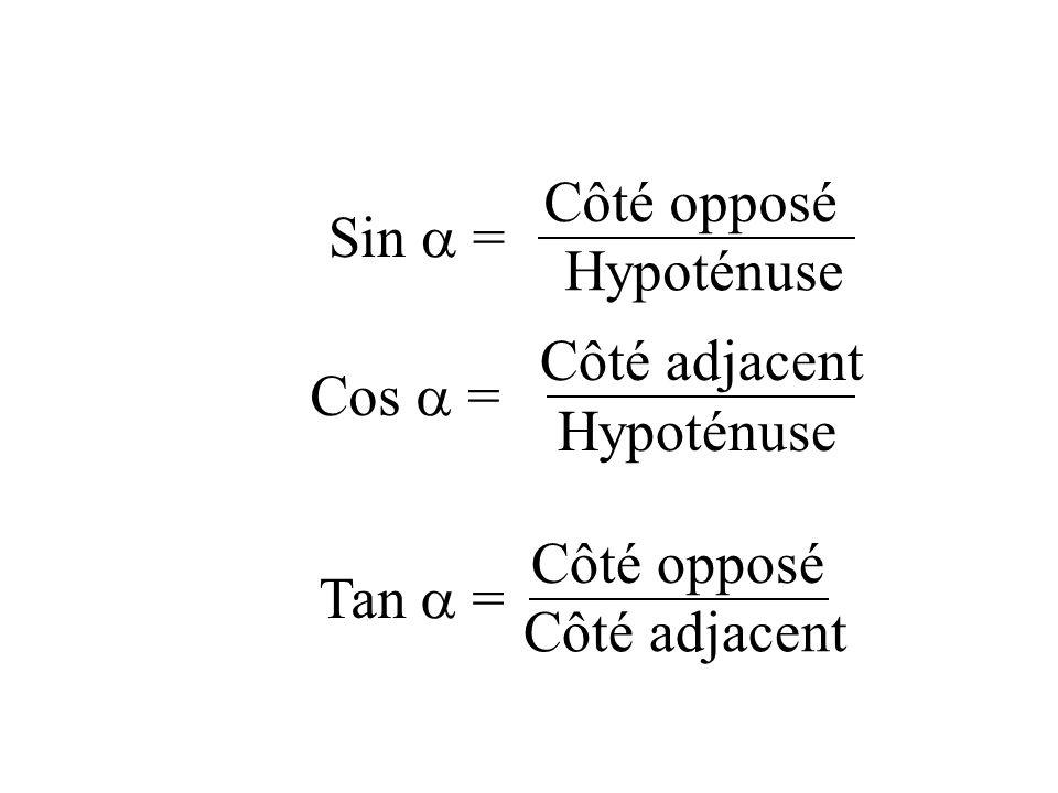 Côté opposé Sin  = Hypoténuse Côté adjacent Cos  = Hypoténuse Côté opposé Tan  = Côté adjacent