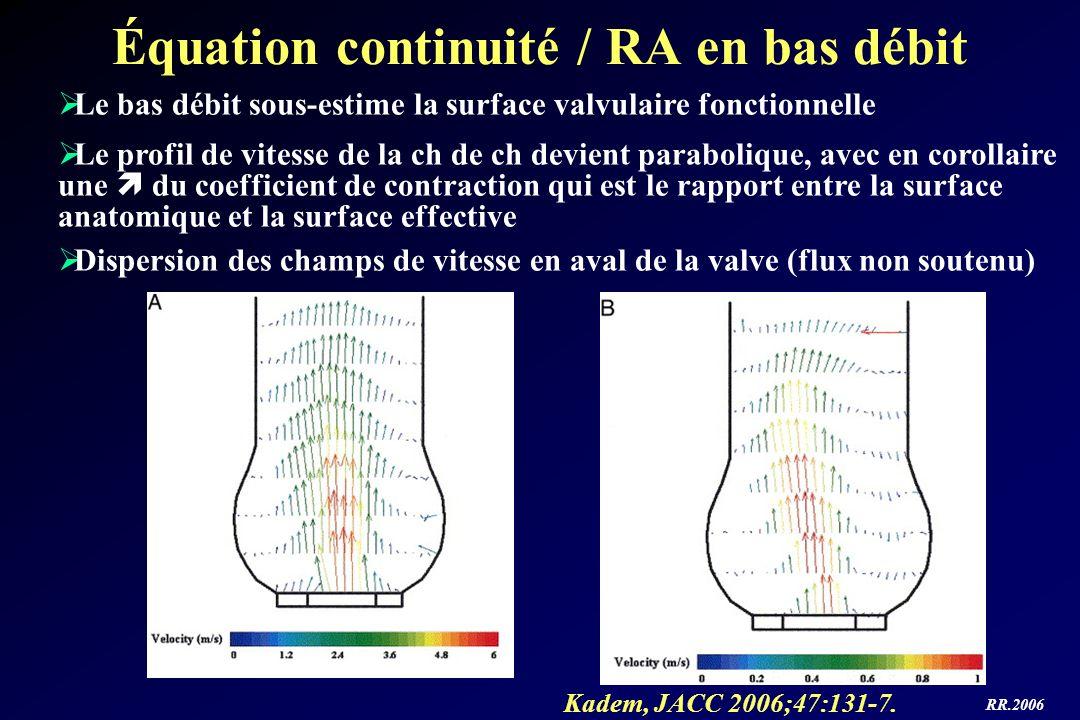 Équation continuité / RA en bas débit