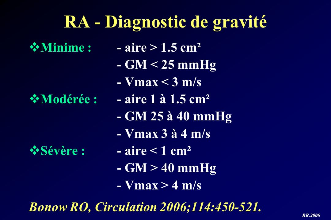 RA - Diagnostic de gravité