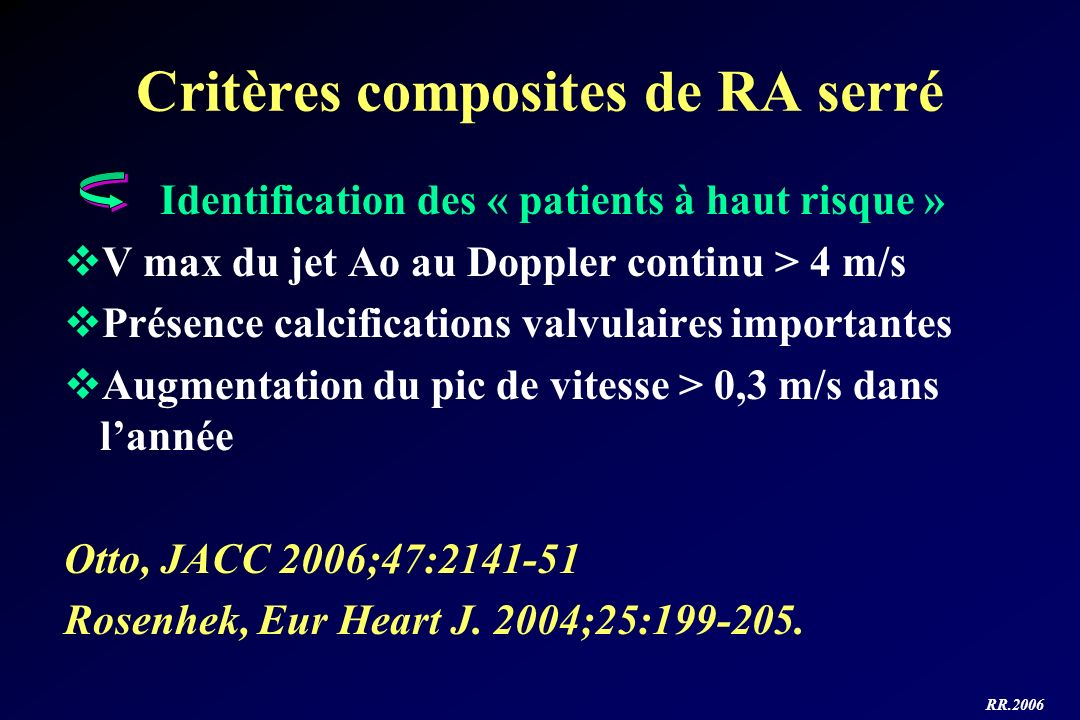 Critères composites de RA serré