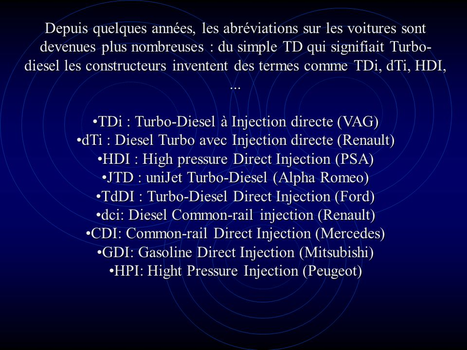 TDi : Turbo-Diesel à Injection directe (VAG)