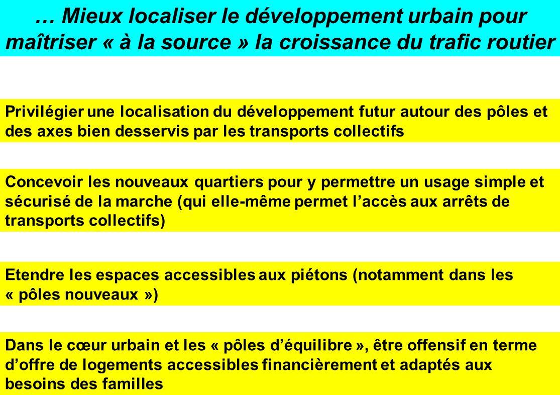… Mieux localiser le développement urbain pour maîtriser « à la source » la croissance du trafic routier