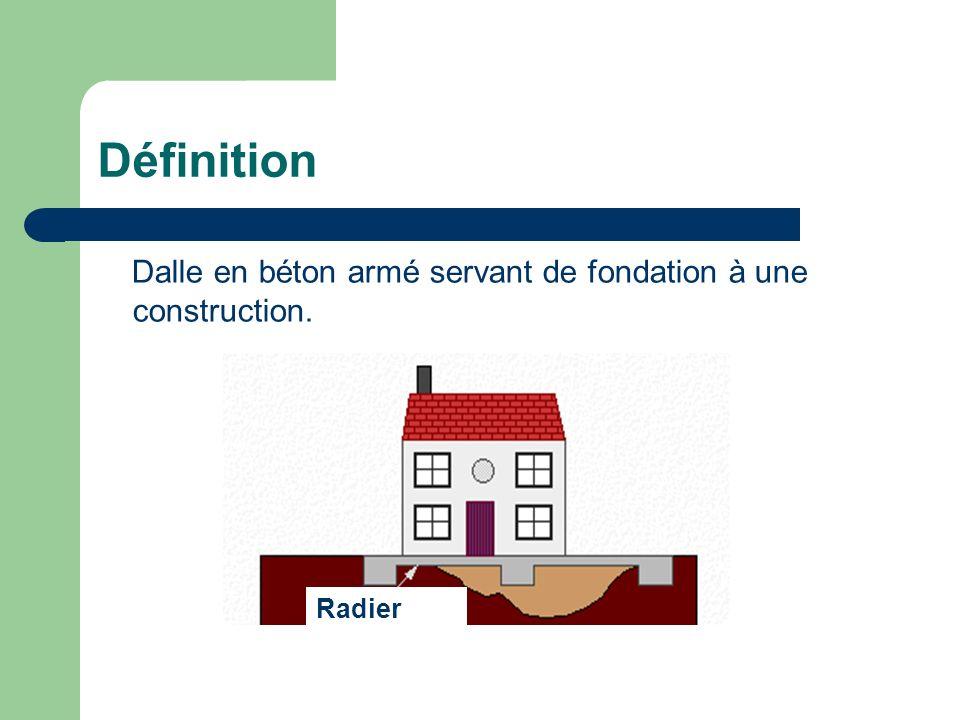 Définition Dalle en béton armé servant de fondation à une construction. Radier