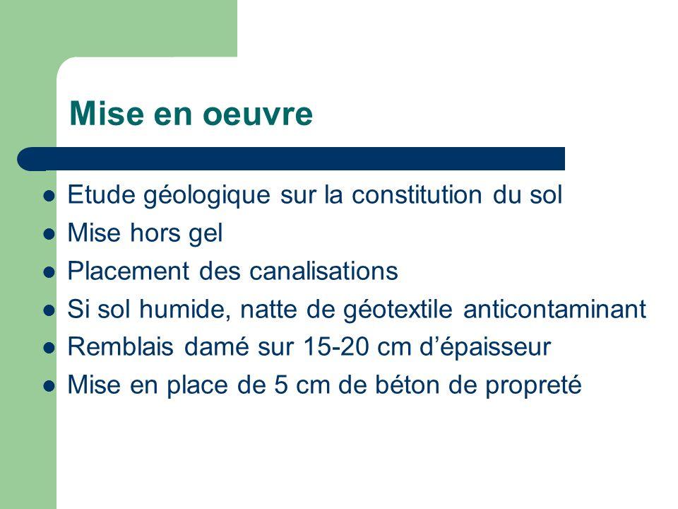 Mise en oeuvre Etude géologique sur la constitution du sol