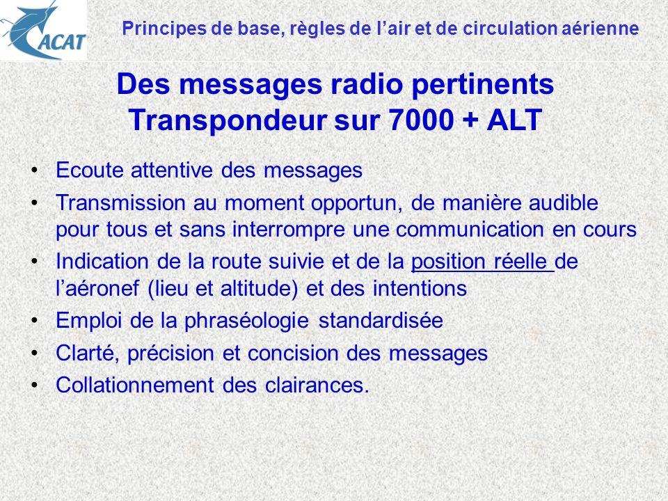 Des messages radio pertinents Transpondeur sur 7000 + ALT