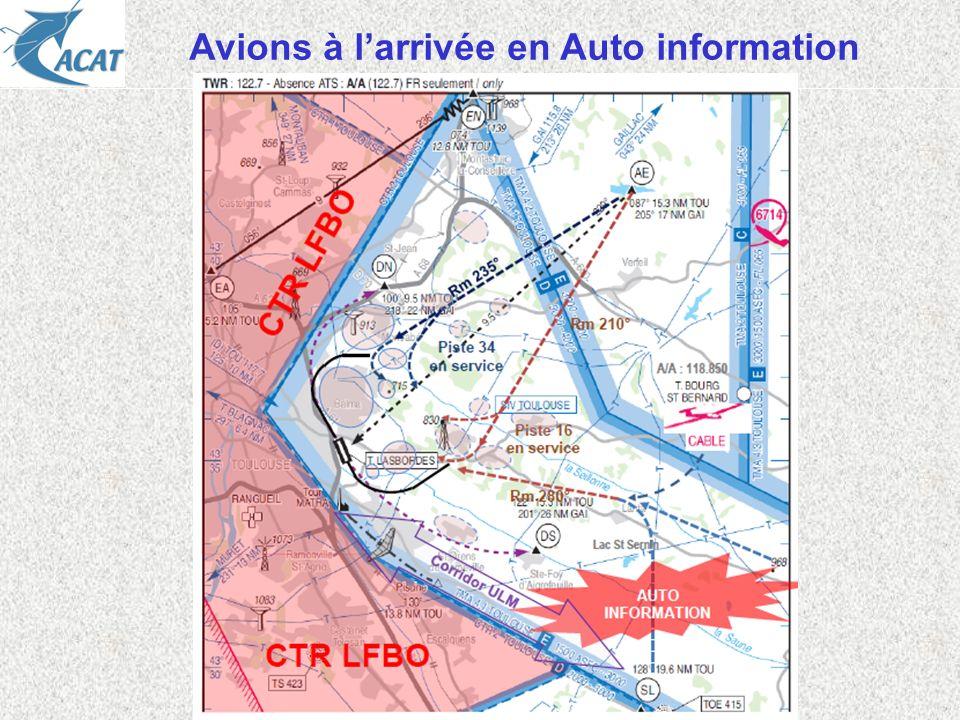 Avions à l'arrivée en Auto information