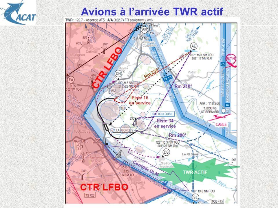 Avions à l'arrivée TWR actif