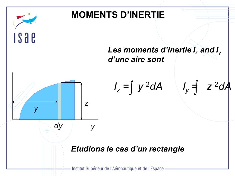   Iz = y 2dA Iy = z 2dA MOMENTS D'INERTIE