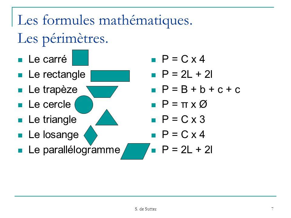 Les formules mathématiques. Les périmètres.