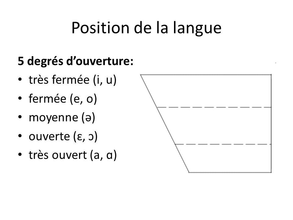 Position de la langue 5 degrés d'ouverture: très fermée (i, u)