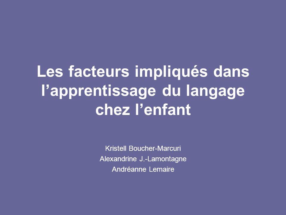 Les facteurs impliqués dans l'apprentissage du langage chez l'enfant