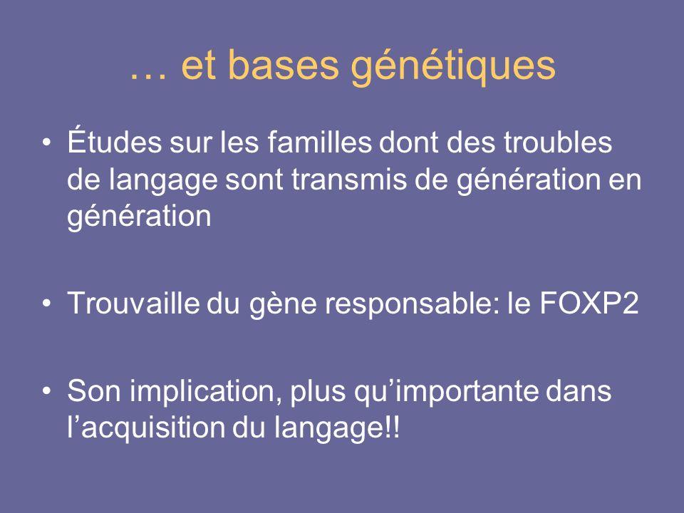 … et bases génétiques Études sur les familles dont des troubles de langage sont transmis de génération en génération.
