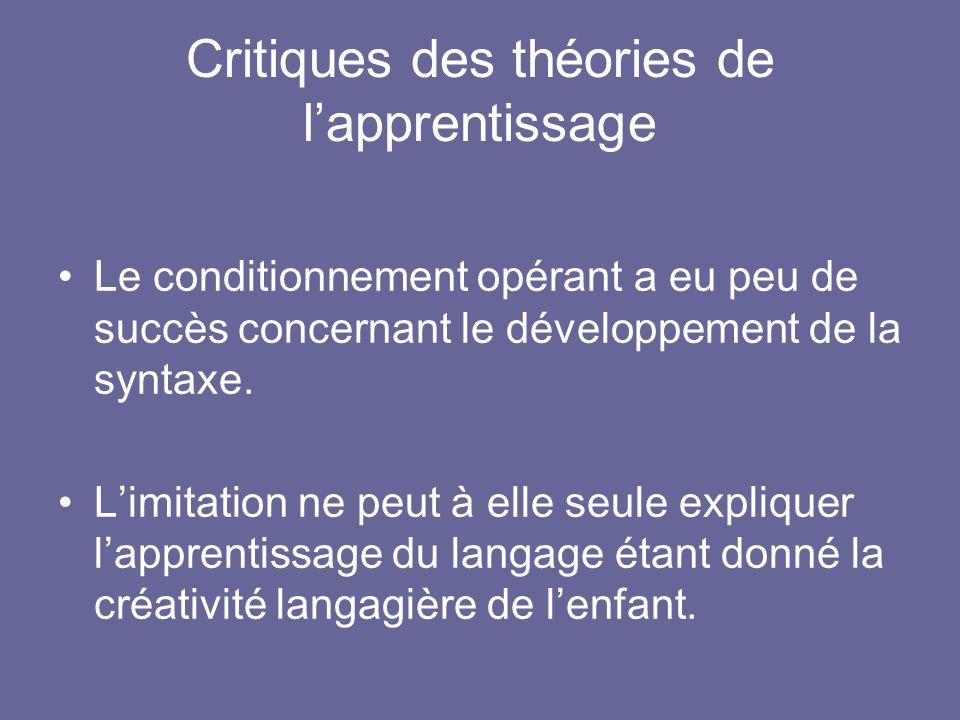 Critiques des théories de l'apprentissage