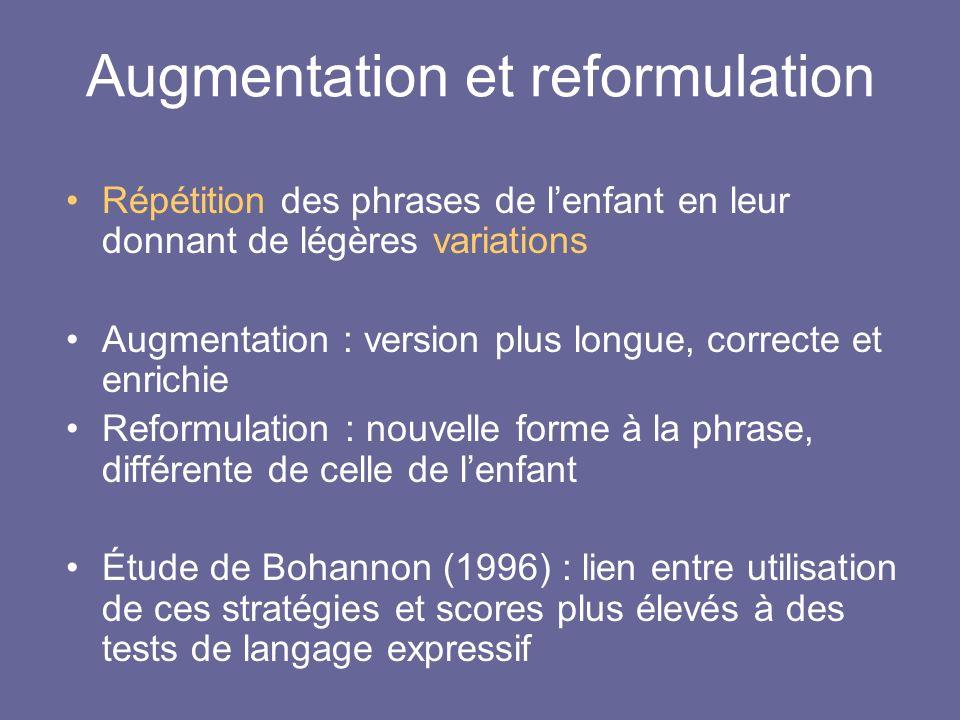 Augmentation et reformulation