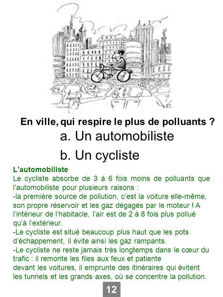 Un automobiliste Un cycliste