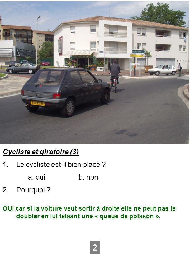2 Cycliste et giratoire (3) 1. Le cycliste est-il bien placé