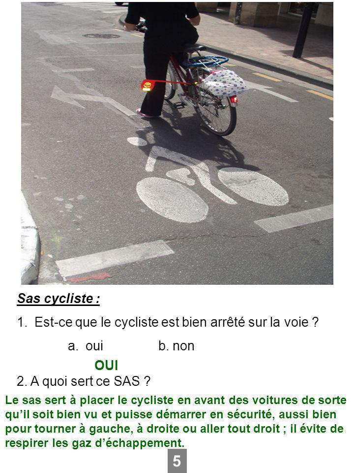 5 Sas cycliste : Est-ce que le cycliste est bien arrêté sur la voie