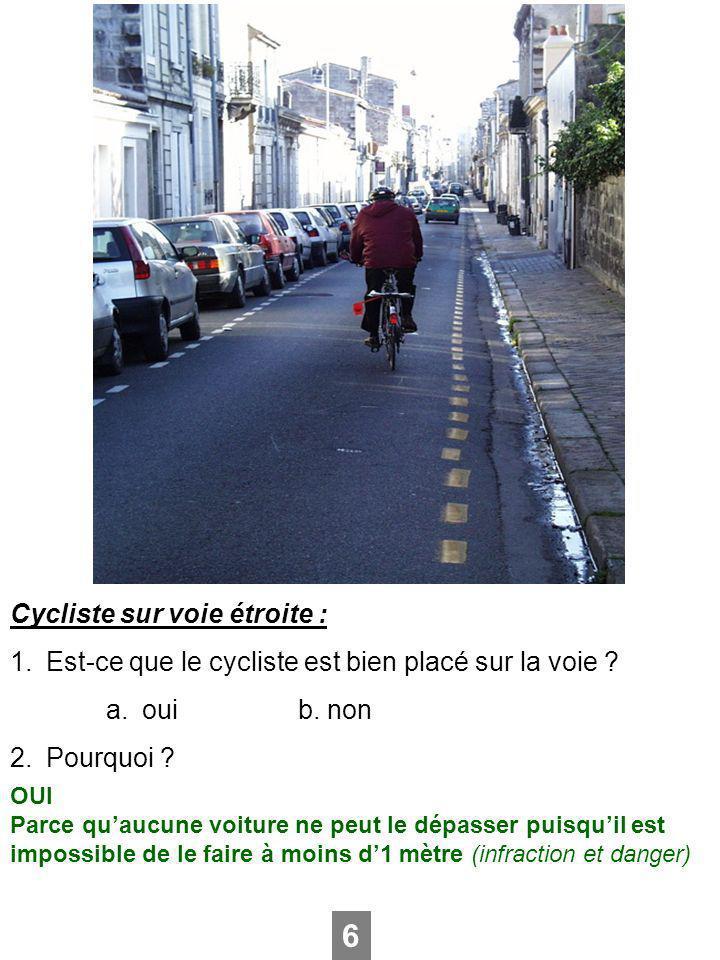 6 Cycliste sur voie étroite :