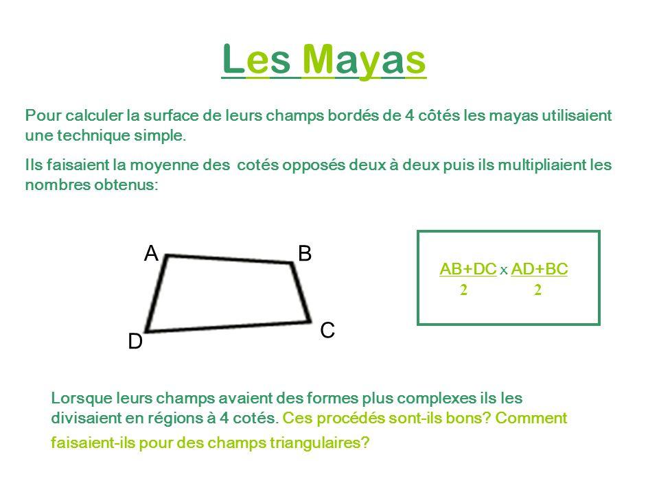 Les Mayas Pour calculer la surface de leurs champs bordés de 4 côtés les mayas utilisaient une technique simple.
