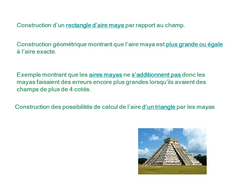 Construction d'un rectangle d'aire maya par rapport au champ.