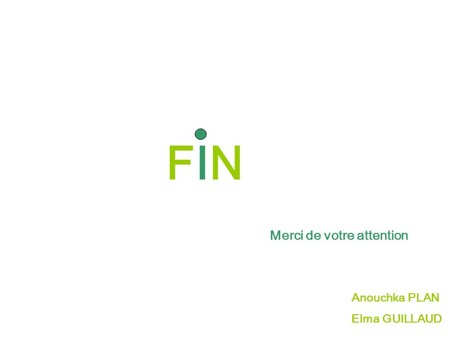 FIN Merci de votre attention Anouchka PLAN Elma GUILLAUD