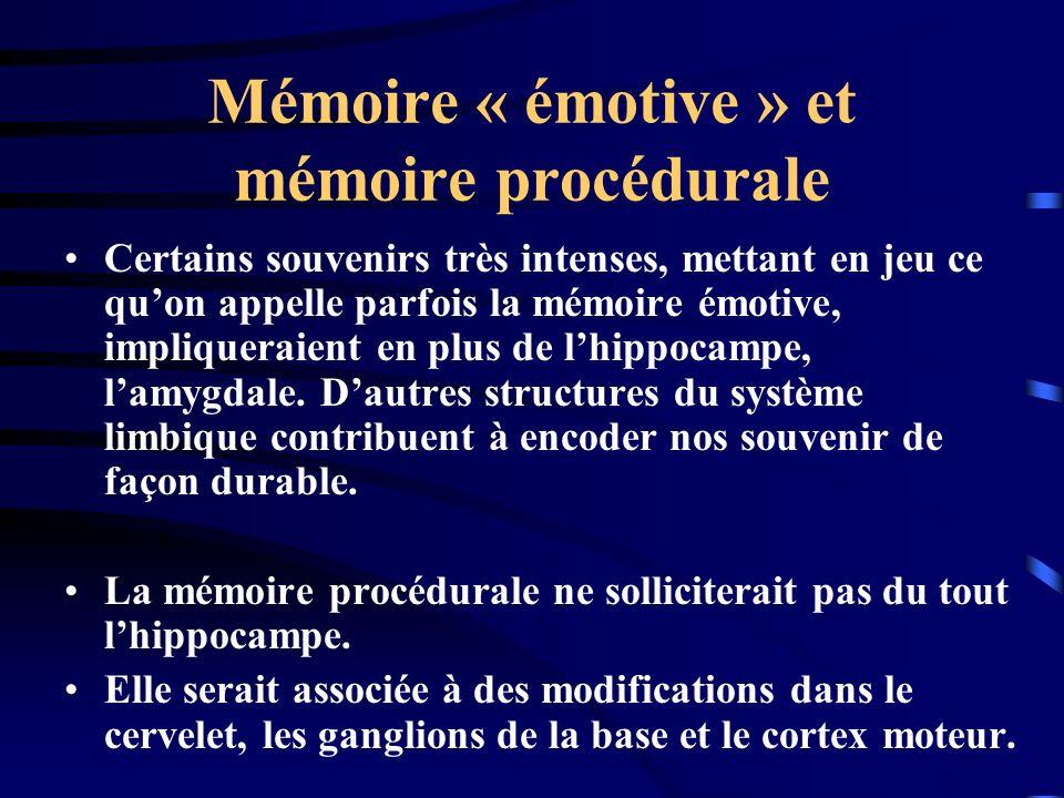 Mémoire « émotive » et mémoire procédurale