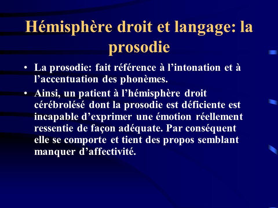 Hémisphère droit et langage: la prosodie