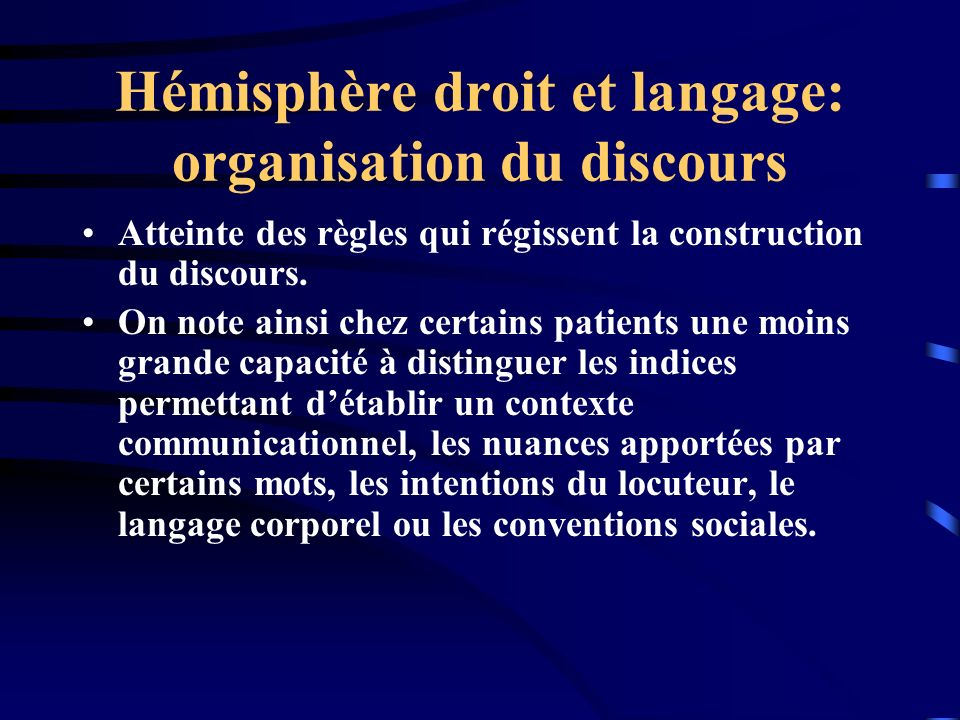 Hémisphère droit et langage: organisation du discours