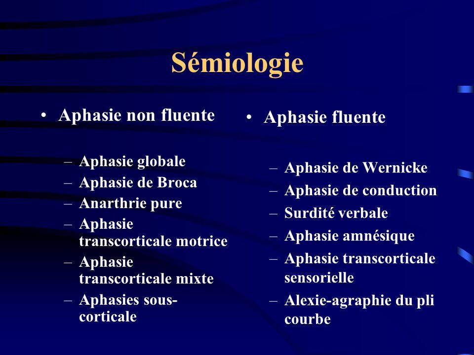 Sémiologie Aphasie non fluente Aphasie fluente Aphasie globale