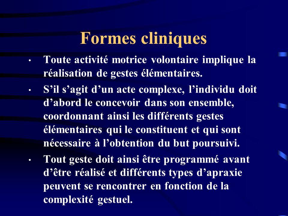 Formes cliniques Toute activité motrice volontaire implique la réalisation de gestes élémentaires.
