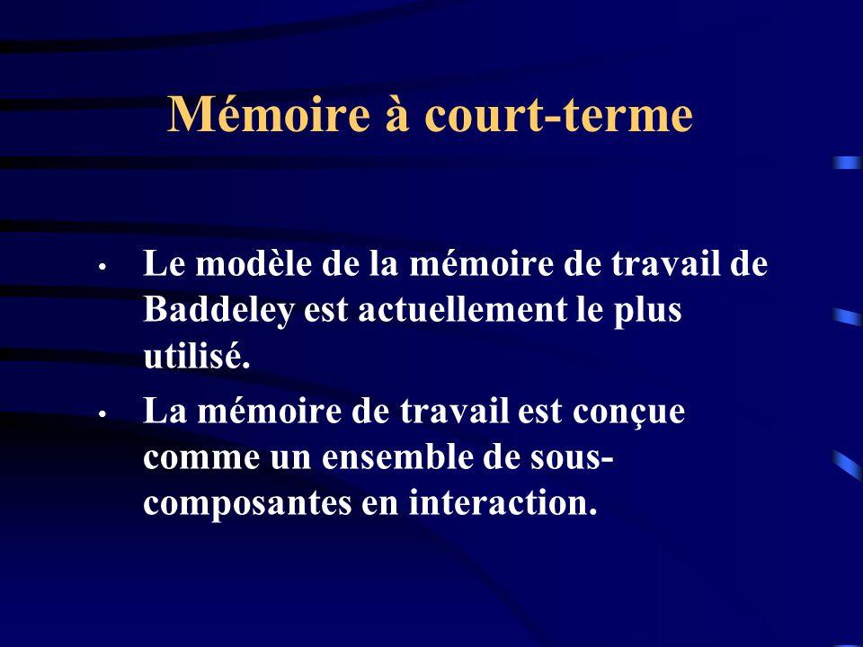 Mémoire à court-terme Le modèle de la mémoire de travail de Baddeley est actuellement le plus utilisé.