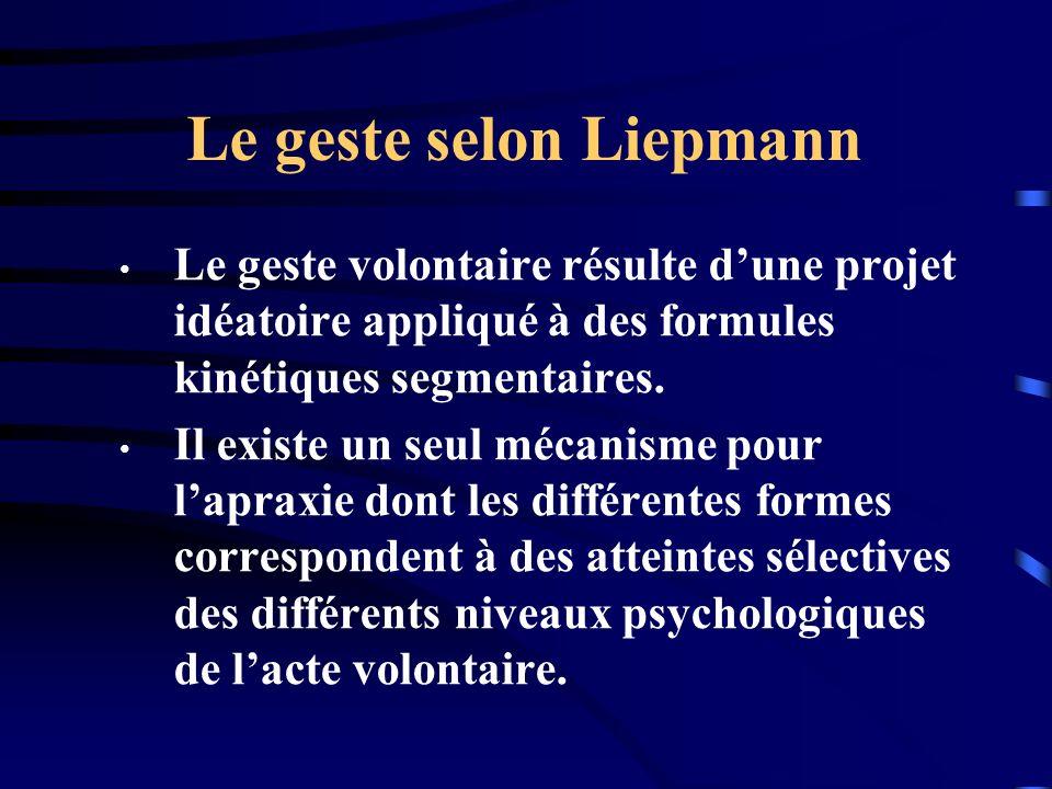Le geste selon Liepmann