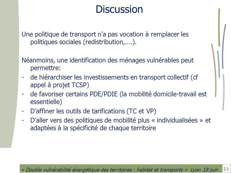 Discussion Une politique de transport n'a pas vocation à remplacer les politiques sociales (redistribution,….).
